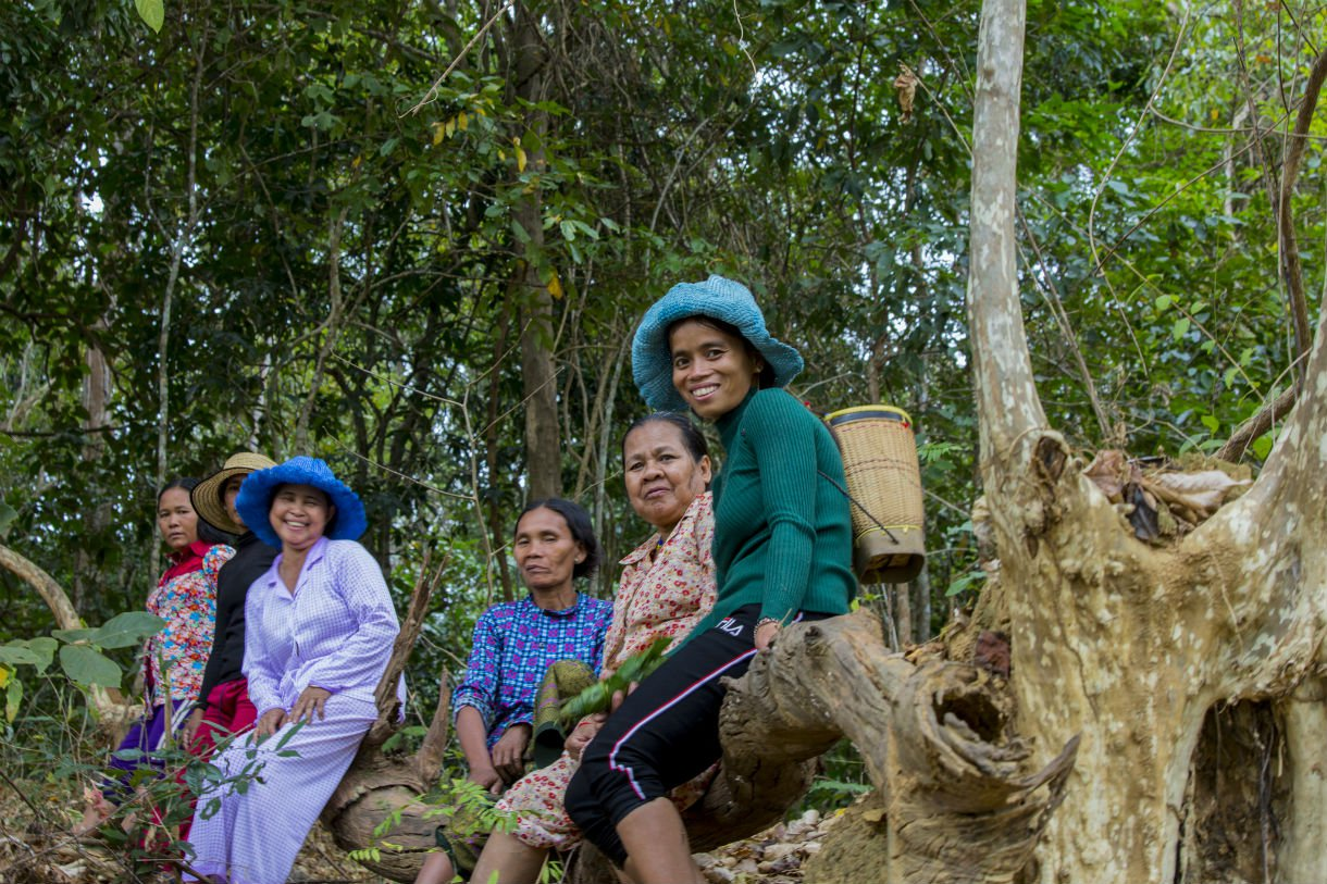 Women leaders from Padol visit their spirit forest on Khorm Island in the Sesan River. Women in indigenous communities rely on the forest for food, such as mushrooms and other edible plants, as well as building materials. Indigenous communities also worship their ancestors in their spirit forest.