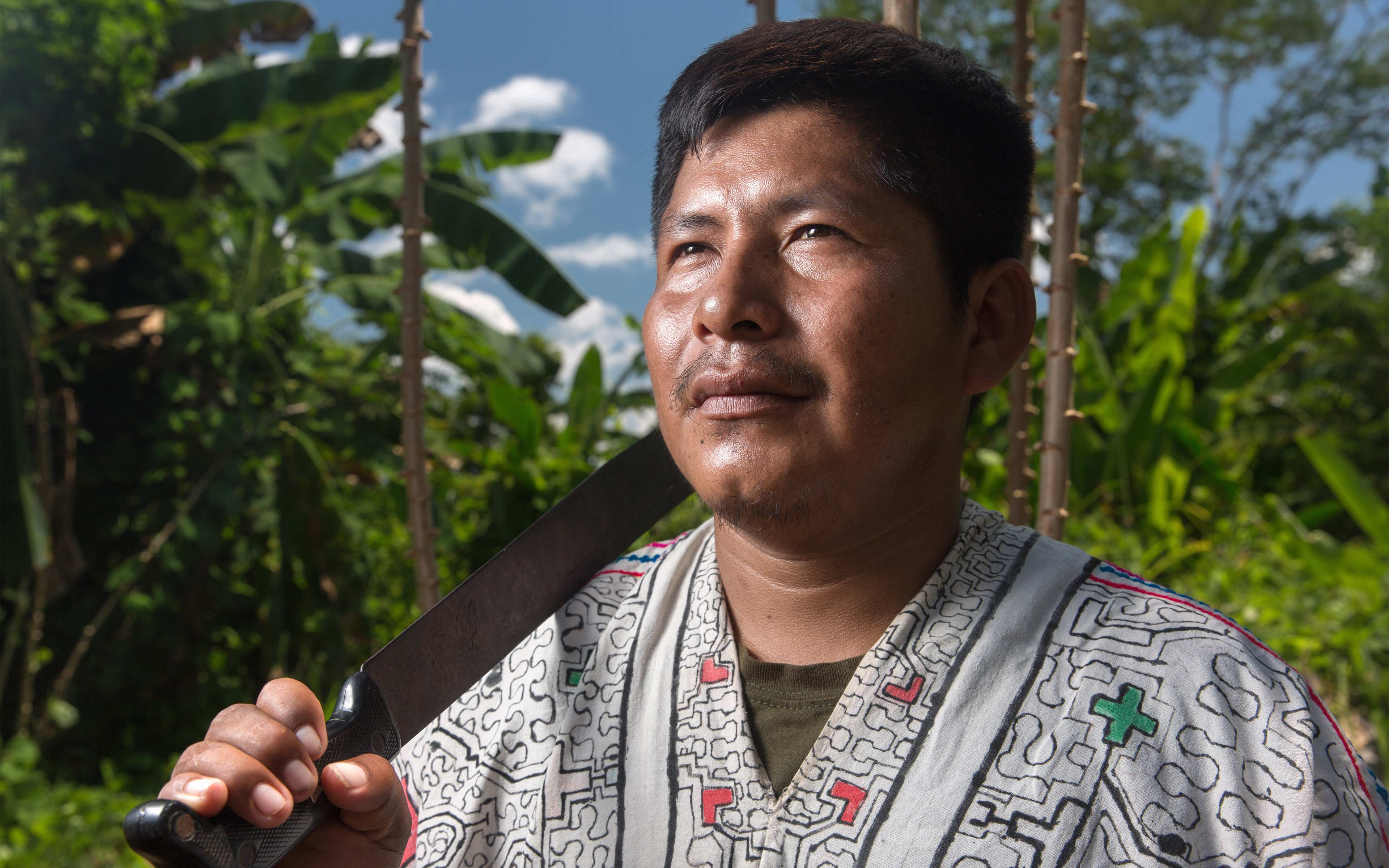 Carlos Hoyos, chief of the ethnic Shipibo village Santa Clara de Uchunya, is one of the leaders of the community that is seeking communal land title to 38,000 hectares (about 93,000 acres) of land.
